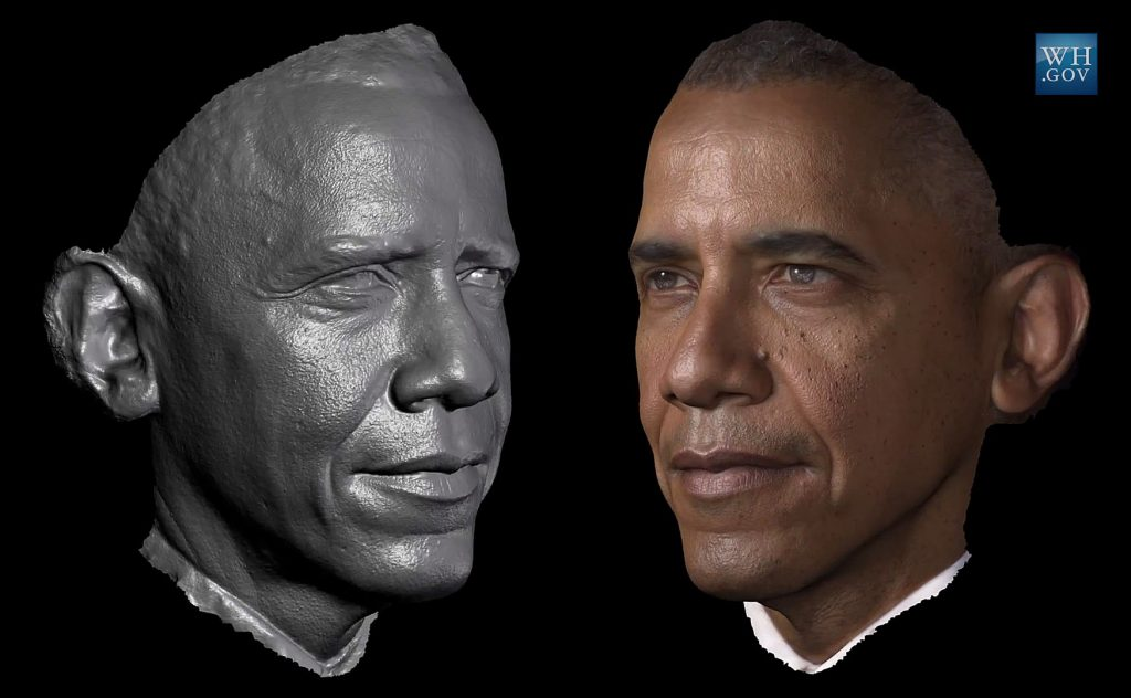 Scannerizzazione 3D di Obama, opera della University of Southern California Institute for Creative Technologies (ICT) e Smithsonian